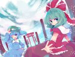 2girls arm_ribbon blue_eyes blue_hair bow front_ponytail green_eyes green_hair hair_bobbles hair_bow hair_ornament hair_ribbon hand_on_hip hat kagiyama_hina kawashiro_nitori long_hair long_sleeves looking_at_viewer multiple_girls open_mouth ribbon shirt skirt skirt_set smile tedamarutarou tobii touhou twintails wink