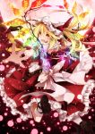 1girl backless_outfit blonde_hair bow chain fangs flandre_scarlet frilled_skirt full_moon glowing glowing_wings hat hat_ribbon lights moon night open_mouth outstretched_arms puffy_sleeves red_eyes red_moon ribbon sash shirt short_sleeves side_ponytail skirt skirt_set sky solo touhou toutenkou vest wings wrist_cuffs