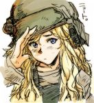 1girl 80s aliens blonde_hair child colonial_marine helmet kaku_(artist) long_hair looking_at_viewer lowres newt_(aliens) oldschool salute science_fiction soldier