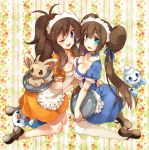 2girls alternate_costume apron blue_eyes breasts brown_hair cleavage double_bun green_eyes hair_ribbon hand_on_waist high_ponytail irouha kneeling long_hair maid maid_headdress mei_(pokemon) minccino multiple_girls oshawott pokemon pokemon_(creature) pokemon_(game) pokemon_bw pokemon_bw2 ribbon thigh-highs touko_(pokemon) tray twintails vanillite very_long_hair white_legwear wink