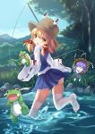1girl absurdres blonde_hair character_doll fishing_rod frog highres long_sleeves looking_at_viewer moriya_suwako no_shoes nomi_mochigome open_mouth running shirt skirt smile tears thigh-highs touhou water white_legwear wide_sleeves yasaka_kanako yellow_eyes