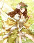 1girl brown_eyes brown_hair butterfly_wings dress flower hair_flower hair_ornament head_wreath long_hair original smile solo wings