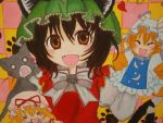 1girl =_= ^_^ animal_ears blonde_hair brooch brown_eyes brown_hair bust cat cat_ears cat_tail checkered checkered_background chen closed_eyes eyelashes fangs hand_puppet hat hat_ribbon hat_with_ears heart high_collar highres jewelry juliet_sleeves long_sleeves lookiing_at_viewer marker_(medium) mob_cap multiple_tails o_o open_mouth paw_print puffy_sleeves puppet ribbon rokokumya short_hair solo tabard tail touhou traditional_media vest yakumo_ran yakumo_yukari