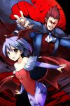 1boy 1girl bare_shoulders blue_hair brown_hair cape demitri_maximoff demon_girl fangs head_wings leotard lilith_aensland looking_at_viewer pantyhose print_pantyhose red_eyes ryoumoto_ken short_hair succubus vampire_(game) wings
