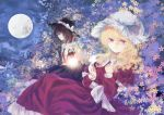 2girls blush brown_eyes brown_hair butterfly cherry_blossoms dress full_moon hat hat_ribbon juliet_sleeves lamp long_sleeves maribel_hearn moon multiple_girls necktie night open_mouth puffy_sleeves purple_dress ribbon sash shirt skirt sky smile touhou tree usami_renko violet_eyes weast