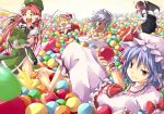 6+girls apron arms_up ascot ball_pit bare_shoulders blonde_hair blue_dress blue_hair bow bra braid breast_padding brooch chinese_clothes crescent demon_wings dress dress_pull fang feet flandre_scarlet flying_teardrops green_eyes grin hair_bow hat hat_ribbon head_wings hong_meiling izayoi_sakuya jewelry juliet_sleeves karasu_raku koakuma long_hair long_sleeves looking_at_viewer lying maid maid_headdress multiple_girls off_shoulder open_mouth patchouli_knowledge puffy_sleeves red_eyes redhead remilia_scarlet ribbon shirt short_hair siblings side_slit silver_hair sisters sitting skirt skirt_set smile star submerged sweat tears throwing touhou twin_braids underwear very_long_hair vest waist_apron white_bra wings wrist_cuffs