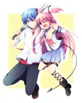 1boy 1girl angel_beats! baseball baseball_bat blue_eyes blue_hair couple fang hinata_(angel_beats!) long_hair pink_eyes pink_hair school_uniform serafuku short_hair soranagi twintails wink yui_(angel_beats!)