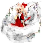_reinnsama blonde_hair flandre_scarlet koumajou_densetsu laevatein ribbon side_ponytail smile touhou weapon wings