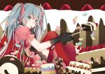 1girl blue_eyes blue_hair cake finger_to_mouth food fruit gloves hair_ribbon hatsune_miku lace-trimmed_dress long_hair mia0309 puffy_sleeves red_legwear ribbon sitting strawberry thigh-highs twintails vocaloid