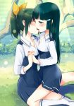 2girls aoki_reika bangs blue_eyes blue_hair blush closed_eyes green_eyes gumichoco hair_ornament hair_ribbon hairclip hime_cut holding_hands interlocked_fingers kiss long_hair midorikawa_nao mouth_to_mouth_feeding multiple_girls nature ponytail precure ribbon school_uniform sitting skirt smile_precure! socks straddle yuri