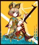 1girl animal_ears grey_hair looking_at_viewer mouse_ears nazrin number red_eyes ringetsumon shirt shoes short_hair short_sleeves sitting skirt socks solo striped striped_socks touhou
