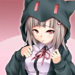 1girl breasts brown_hair dangan_ronpa hair_ornament hairclip hoodie large_breasts lips nanami_chiaki pink_eyes school_uniform solo super_dangan_ronpa_2 tamajam