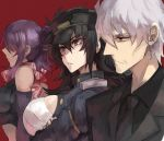 1boy 2girls black_hair breasts daidouji_(senran_kagura) formal jonasan kiriya_(senran_kagura) large_breasts multiple_girls necktie purple_hair red_background red_eyes senran_kagura short_hair silver_hair suzune_(senran_kagura)