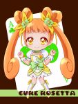 1girl ace asahi_haru boots bow brown_background brown_hair card chibi choker clenched_hand clubs cure_rosetta dokidoki!_precure double_bun earrings flower hair_flower hair_ornament hair_ribbon jewelry long_hair magical_girl playing_card precure ribbon skirt smile solo twintails wrist_cuffs yellow_eyes yotsuba_alice