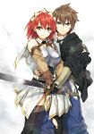 1boy 1girl armor blue_eyes blush breasts brown_hair cecily_cambell gloves looking_at_viewer luke_ainsworth red_eyes redhead runa seiken_no_blacksmith short_hair standing sword thigh-highs weapon