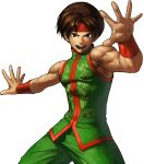 1boy brown_eyes brown_hair chinese_clothes headband highres king_of_fighters king_of_fighters_xiii muscle official_art ogura_eisuke short_hair sie_kensou sleeveless snk solo transparent_background vambraces