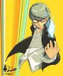 1boy bust card dated glasses grey_eyes grey_hair junkpuyo narukami_yuu no_legs persona persona_4 school_uniform short_hair