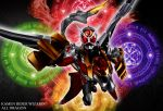 1boy belt claws dragon highres kamen_rider kamen_rider_wizard kamen_rider_wizard_(series) magic_circle male maru_(pixiv587569) mask solo tail