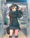 1girl bag black_hair blush brown_eyes coat daito long_hair original scarf school_bag school_uniform skirt solo train waving