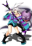 1girl aqua_eyes bass_guitar boots gas guitar gym_leader hair_ornament highres homika_(pokemon) instrument koffing pokemon pokemon_(game) pokemon_bw2 shirt short_hair shorts spandex striped striped_shirt topknot white_hair yosuga