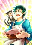 1boy ao_no_exorcist apron blue_hair cat green_hair grin highres kuro_(ao_no_exorcist) mittens okumura_rin pointy_ears pot sixi1990 smile solo