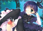 blue_eyes blush bow chestnut_mouth chuunibyou_demo_koi_ga_shitai! dress eyepatch gothic_lolita hair_ribbon heart hisama_kumako lolita_fashion ribbon short_hair side_ponytail takanashi_rikka thigh-highs v zettai_ryouiki