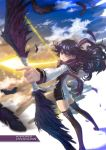 1girl artist_name ass black_hair bow_(weapon) feathers kuroki_rei long_hair short_shorts shorts solo tama_(pixiv69870) thigh-highs title_drop vividred_operation weapon