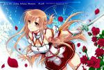 1girl alternate_costume asuna_(sao) breastplate breasts brown_eyes brown_hair cleavage flower half_updo kanna_(plum) petals rapier rose rose_petals skirt sword sword_art_online sword_art_online:_infinity_moment thighhighs weapon yuuki_asuna