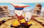 1boy arm_raised bald chamba destructo_disk dougi dragon_ball dragon_ball_z eyebrows kuririn landscape male muscle solo thick_eyebrows