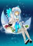 1girl alternate_costume blue_background blue_hair coat crescent elsword eve_(elsword) expressionless forehead_jewel gloves grey_legwear headdress highres house long_hair oao pantyhose print_pantyhose shoes skirt snowflakes solo tree yellow_eyes