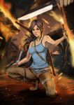 bare_shoulders bow_(weapon) breasts brown_eyes brown_hair fire gun highres jewelry kneeling knife kuruma_hajime lara_croft lips long_hair necklace pistol solo title_drop tomb_raider weapon