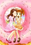 2girls alternate_costume blush brown_hair cake cheek_kiss closed_eyes doughnut dress food gift green_eyes happy_birthday idolmaster kiss long_hair looking_at_another machiyo minase_iori multiple_girls orange_hair short_hair sitting takatsuki_yayoi twintails yuri