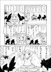 1boy 1girl ahoge armor blush chibi comic dark_souls fang full_armor fur harpy horns knight long_hair priscilla_the_crossbreed serizawa_enono tail