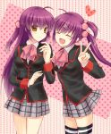 2girls brown_eyes closed_eyes futaki_kanata hair_bobbles hair_ornament highres kazuki_marina little_busters! long_hair multiple_girls plaid plaid_skirt purple_hair saigusa_haruka school_uniform side_ponytail skirt striped striped_legwear thigh-highs v