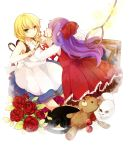 2girls black_cat blonde_hair blood braid cat dress ellen_(majo_no_ie) green_eyes highres knife majo_no_ie multiple_girls noose november-eri picture_frame purple_hair skull spider_web stuffed_animal stuffed_toy teddy_bear twin_braids viola_(majo_no_ie)