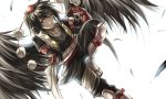 1girl backlighting bird_wings black_hair black_wings feathers fingerless_gloves gauntlets gloves hat hat_ribbon looking_at_viewer na_(801039) open_clothes open_jacket pants pointing pointing_at_self pointy_ears red_eyes red_gloves ribbon shameimaru_aya shirt simple_background smirk solo tokin_hat touhou uneven_eyes white_background wings
