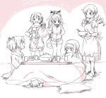 5girls :3 =_= akemi_homura apron bag bowl closed_eyes dress drill_hair hair_ornament hair_ribbon hairband hairclip hand_on_hip hands_in_pocket kaname_madoka kannari kotatsu kyubey long_hair mahou_shoujo_madoka_magica miki_sayaka monochrome multiple_girls open_mouth ponytail pot ribbon sakura_kyouko school_uniform short_hair short_shorts shorts skirt sleeping smile table tomoe_mami twin_drills twintails