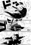 1girl a.hebmuller blood boots car comic monochrome motor_vehicle original translation_request vehicle