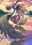 1girl alternate_costume bare_back black_hair black_wings clouds forest frilled_skirt glowing glowing_eye hat highres leaf_fan madyy nature parted_lips pom_pom_(clothes) red_eyes reflection sandals shameimaru_aya short_hair skirt sky smile solo tengu-geta tokin_hat touhou tree twilight water wings