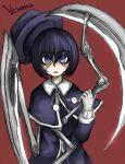 1girl bangs black_hair blue_eyes capelet dress franken_fran hat madaraki_veronica mechanical_arms ray-k scythe short_hair solo stitches weapon