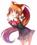 1girl animal_ears brown_hair cat cat_ears highres little_busters! long_hair mushuu natsume_rin paw_pose ponytail red_eyes school_uniform