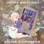 1girl birthday blonde_hair book ghost hair_over_one_eye hoodie idolmaster idolmaster_cinderella_girls red_eyes shirasaka_koume short_hair sleeves_past_wrists smile