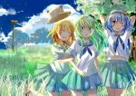3girls alternate_costume beartoris blue_hair blush breasts closed_eyes clouds frog_hair_ornament grass green_eyes green_hair hair_ornament hair_ribbon hat kochiya_sanae long_hair moriya_suwako multiple_girls open_mouth red_eyes ribbon school_uniform serafuku short_hair skirt sky smile snake_hair_ornament thigh-highs touhou tree white_legwear wink yasaka_kanako