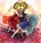 2girls alternate_color ascot demo_(takakong) dual_persona flower flower_field green_hair highres holding_hands kazami_yuuka long_sleeves looking_at_viewer multiple_girls parasol petals red_eyes shirt skirt skirt_set spider_lily touhou umbrella vest