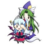 2girls ? covering_eyes faech green_hair mima multiple_girls multiple_wings shinki silver_hair touhou wings