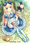 1girl alice_(wonderland) alice_in_wonderland apron basket blonde_hair blue_eyes blush book bow dress flower hair_bow hat long_hair looking_at_viewer pantyhose picnic_basket rabbit sayori sitting smile solo striped striped_legwear top_hat tree white_rabbit wrist_cuffs