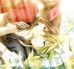 1boy 1girl aerith_gainsborough blonde_hair blue_eyes brown_hair cloud_strife couple eye_contact final_fantasy final_fantasy_vii flower gloves green_eyes hair_ribbon hetero lily_(flower) long_hair looking_at_another persia_fcfc ribbon smile