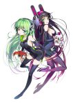 2girls bare_shoulders black_dress black_gloves black_hair black_legwear blue_eyes boots breasts chibi detached_sleeves dress elbow_gloves gloves green_eyes green_hair headgear headphones headphones_around_neck high_heels hong_(white_spider) long_hair minidress mouth_hold multiple_girls original pocky shoes sideboob simple_background smile thigh-highs thigh_boots very_long_hair white_background wink