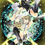 1boy 1girl aqua_eyes arm_warmers armpits blonde_hair brother_and_sister detached_sleeves hair_ornament hair_ribbon hairclip hana_(mew) headphones highres kagamine_len kagamine_len_(append) kagamine_rin kagamine_rin_(append) leg_warmers navel open_mouth outstretched_arms ribbon short_hair shorts siblings smile spread_arms thigh-highs twins vocaloid vocaloid_append