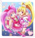 2girls aida_mana arm_warmers bike_shorts blonde_hair blue_background blue_eyes boots bow brooch choker color_connection cure_heart cure_melody dokidoki!_precure dress frills hairband half_updo heart holding_hands houjou_hibiki jewelry long_hair magical_girl minu multiple_girls musical_note pantyhose pink_dress pink_eyes pink_hair pink_legwear ponytail precure ribbon shoes shorts_under_skirt skirt smile staff_(music) star suite_precure twintails v wrist_cuffs